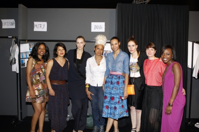 The designers backstage. Christie Brown founder, Aisha Oboubi appears on the far right.